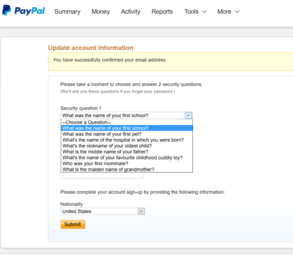 paypal security question